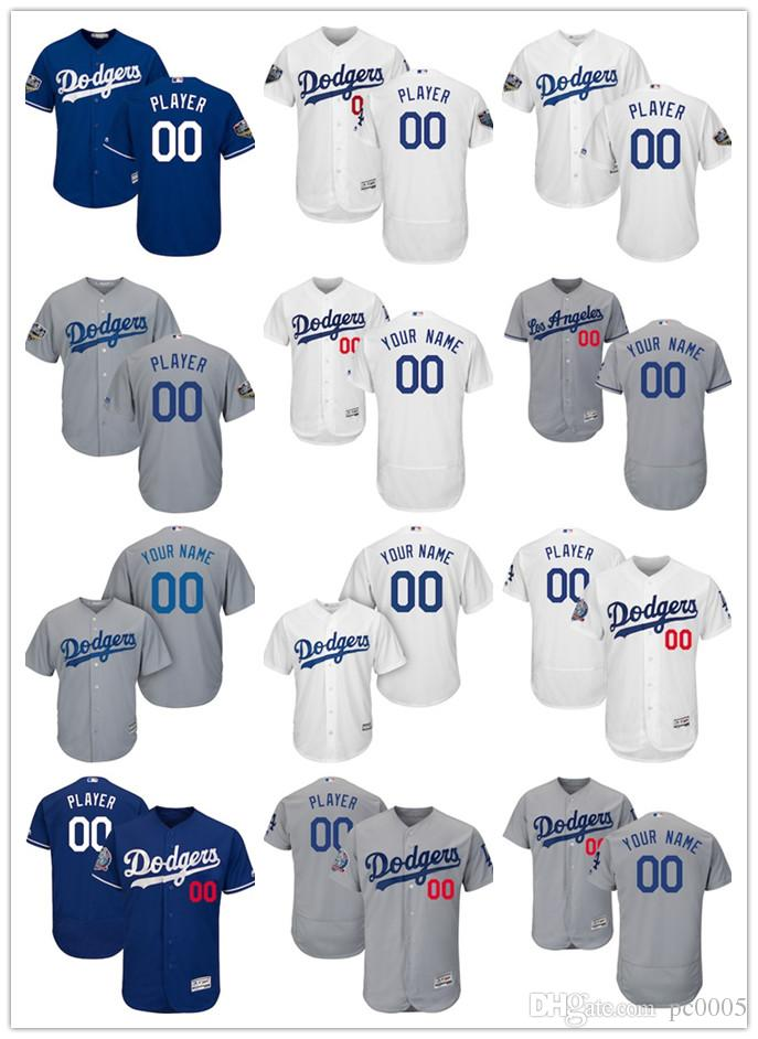quality design f2498 59586 Men s Los Angeles Dodgers Majestic White Home Royal 2018 World Series Gray  60th Anniversary Alternate On-Field Patch Flex Base Custom Jersey