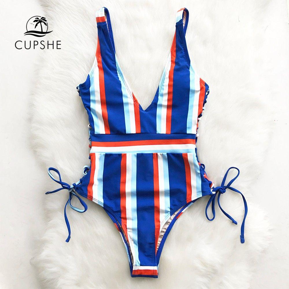 df9faff1e6c 2019 Cupshe Lace Up Striped One Piece Swimsuit Women Slim V Neck Sexy  Bodysuit Swimwear 2018 New Girl Beach Bathing Suit Monokinis From  Jacky20160804, ...