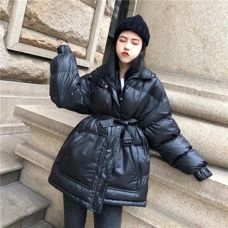 40324b33df0 2019 Women S Winter Coat Korean Long Cotton Bubble Coat Jacket Loose BF  Style Solid Black Red Hooded Padded Parkas Fashion Streetwear From Sikaku