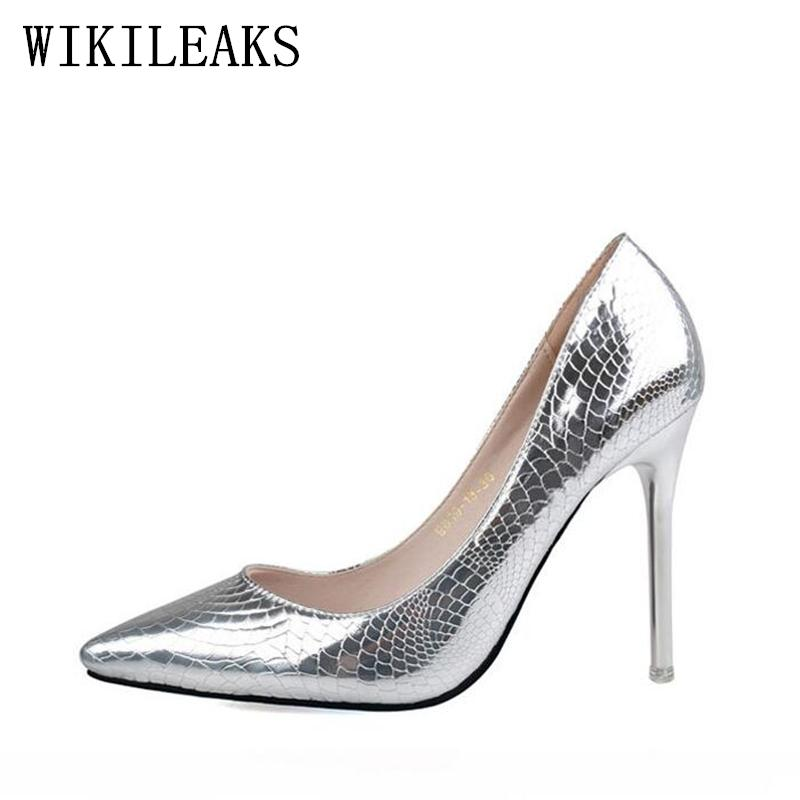 cf5c2ee7a907 Dress Designer Patent Leather Crocodile Skin Shoes Woman Pumps Luxury Brand  Pointed Toe Red Extreme High Heels Women's Shoes Stiletto