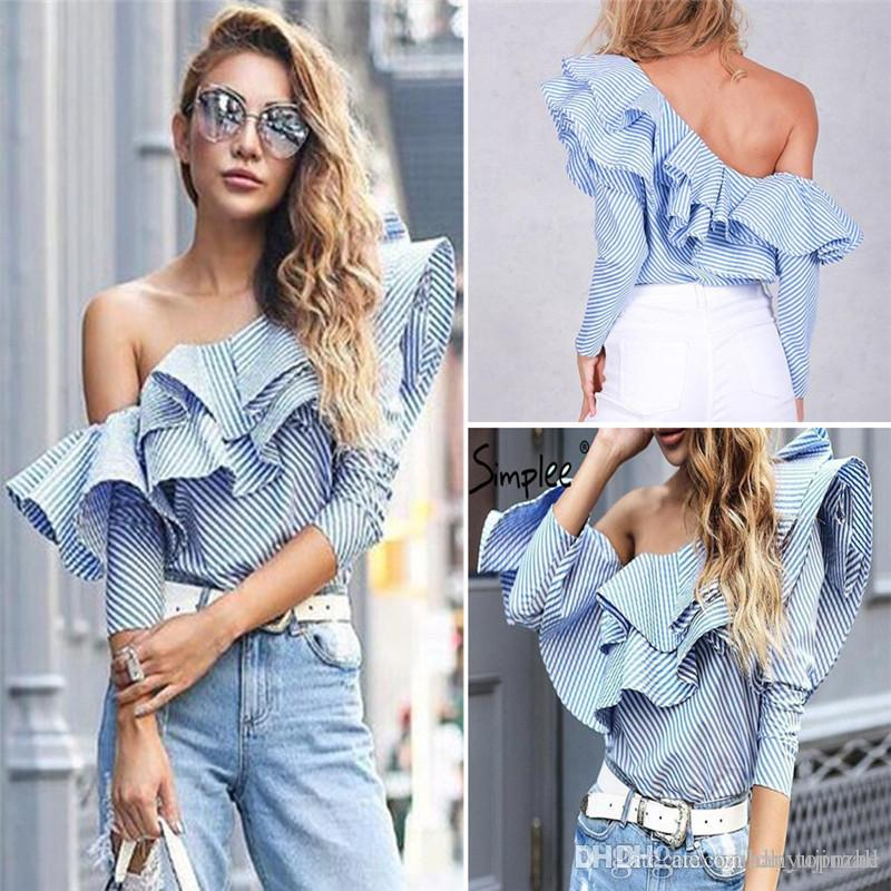 39bbed554c7c 2019 201 Spring Blouses Women Tops One Shoulder Off Blouses Shirt Ruffle  Striped Shirt Slash Neck Blouse Cold Shoulder Tops JC007 From Dh topmall
