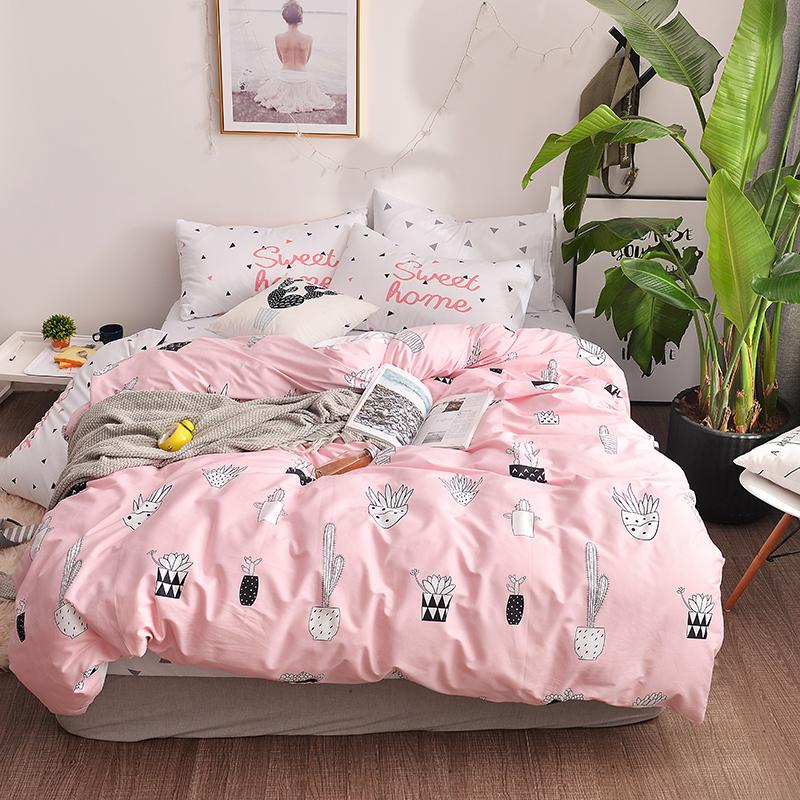 2018 Brief Bonsai Pink Bedding Set Cotton Fabric Queen Ru Europe Twin Size  Duvet Cover Flat Sheet Pillow Cases Toile Bedding Country Bedding From ...
