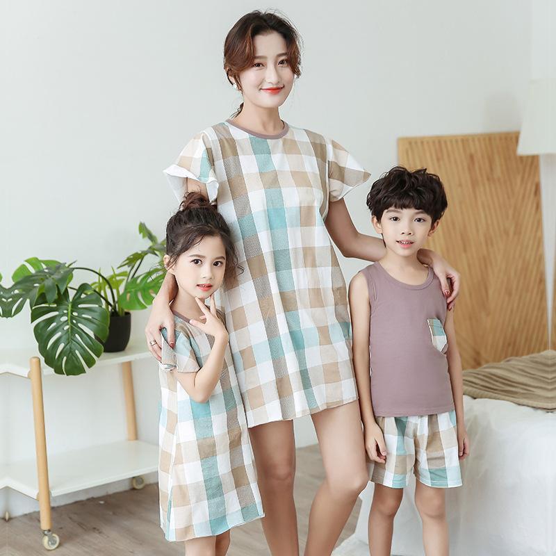0a7b81e93be8 Ropa de madre e hija Vestidos para niñas Pijamas a juego para la familia  Niños bebés Bata Causal Ropa de dormir Pijama Trajes para la familia
