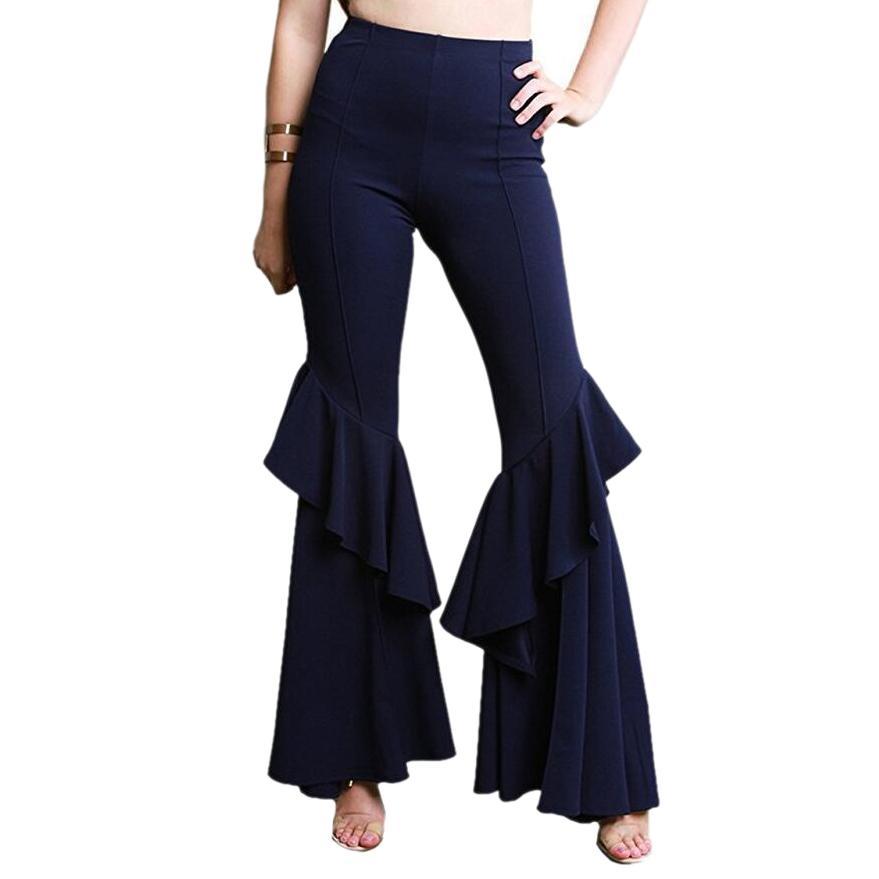a5e3ceb9d6 Compre Mujeres Elegantes Ol Cintura Alta Pantalones Anchos De La Pierna  Pantalones Partes Inferiores De La Colmena De Campana Pantalones  Acampanados Sexy ...