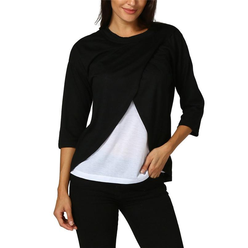 551d23dc2cc Maternity Clothes Breastfeeding Clothes Women Maternity Nursing Wrap Top  Three Quart Sleeves Double Layer Blouse T-Shirt JY06 F Online with   29.76 Piece on ...