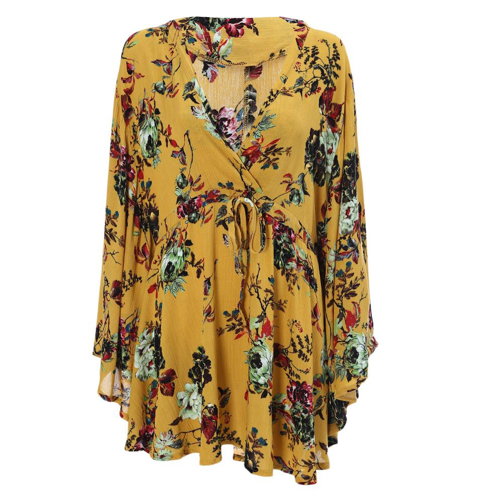 Trendy V Neck Long Shirt Batwing Sleeve Floral Print Poncho Women Blouse Cotton Blends Long Tunic Top Female Beach Kimono Blusas