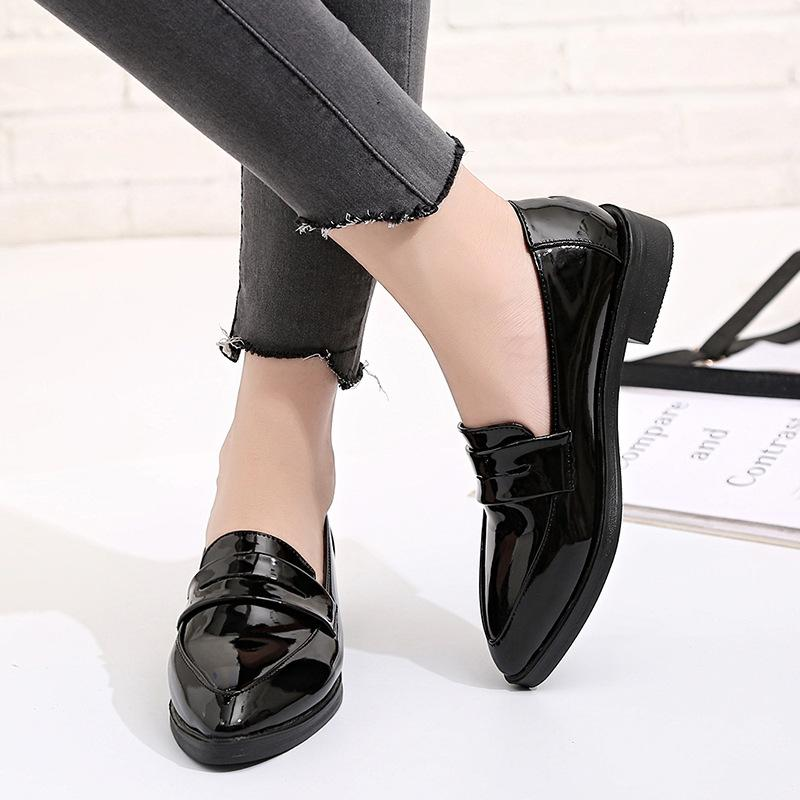 1f889e5efe5 Designer Dress Shoes Women British Style Oxford Lady Spring Patent Leather  Oxfords Flat Heel Casual Footwear Slip On Dress Dress Shoes For Men Leather  Shoes ...
