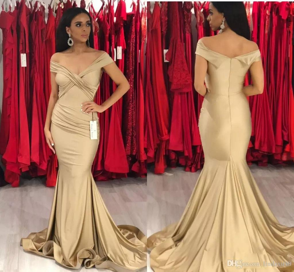 30712fb01e8 Cheap 2019 New Designer Mermaid Prom Dresses Sexy Off The Shoulder Sweep  Train Gold Evening Gowns Vestidos De Fiesta Formal Dress Dresses On Sale  Gowns ...