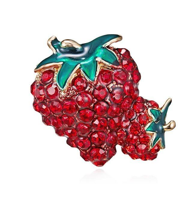 Strawberry Brooches For Men Women - Trendy Alloy Enamel Crystal Rhinestone Classic Fruits Weddings Party Brooch - Fashion Accessories