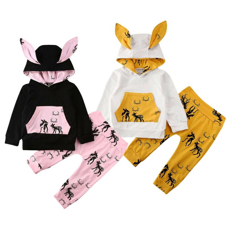 2Pcs Toddler Baby Kids Boy Girl Hot Hooded Tops Pants Romper Jumpsuit Outfit Set