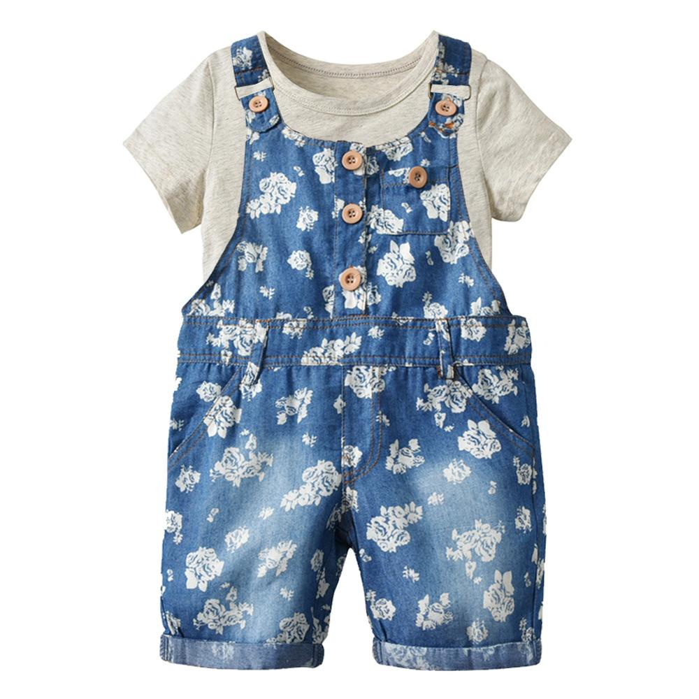 2019 girls denim overalls cotton short sleeve suit children summer suit baby baby bib T-shirts and shorts Shoulder strap shorts
