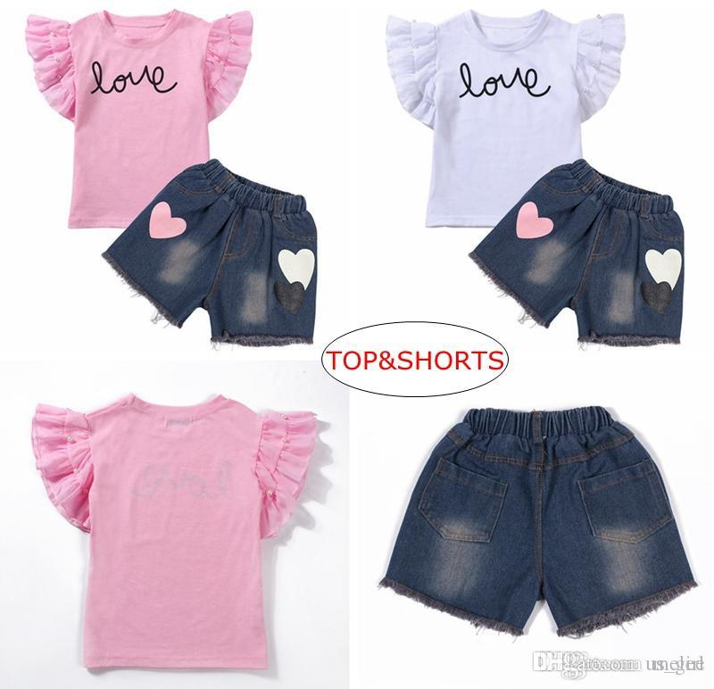 INS Baby GIRL lOVE Print Set Clothes Summer Children Cartoon Animals Top 100%cotton T Shirt + girls Denim Blue Shorts Pant 2PC Outfits