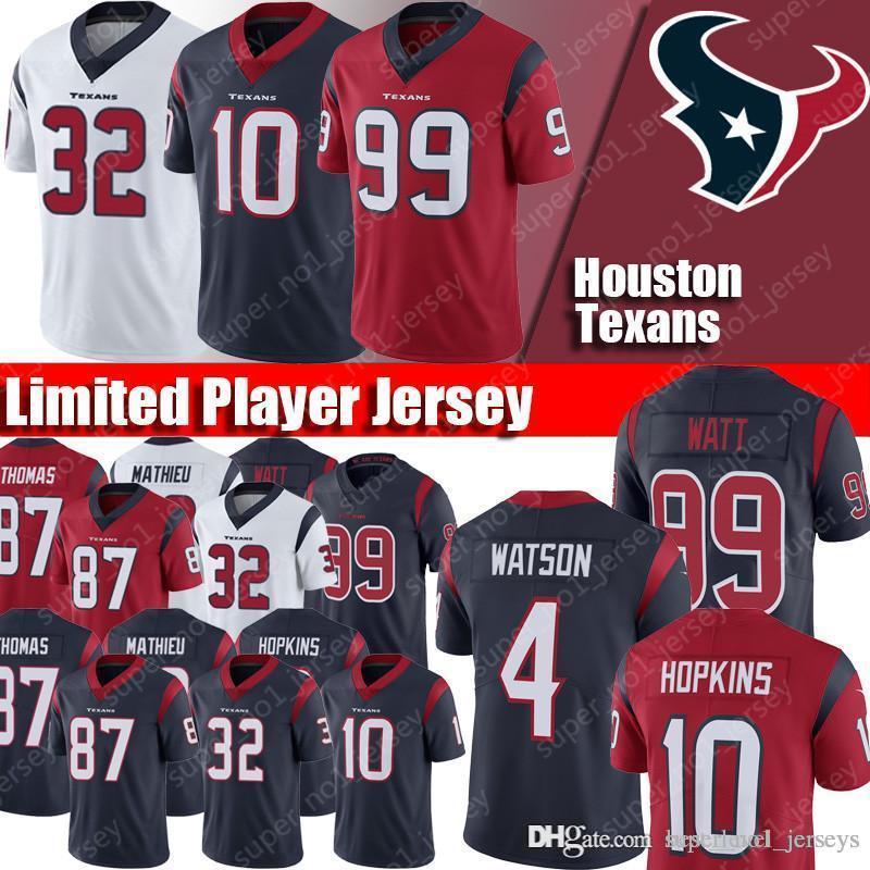 on sale e836b f1fd9 2019 New Houston Texan Jerseys 4 Deshaun Watson Jersey 99 J.J. Watt Jerseys  10 DeAndre Hopkins Jerseys 32 Tyrann Mathieu Thomas Clowney