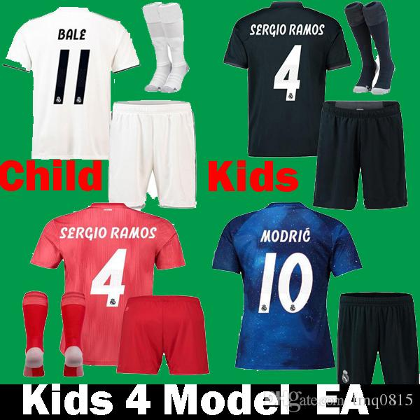Compre Niños 2018 2019 Real Madrid Sports EA ASENSIO SERGIO RAMOS MODRIC  Bale MARCELO ISCO Niño Camisetas De Fútbol Kits Uniforme 18 19 Camisetas De  Fútbol ... 3045f8eb8196f