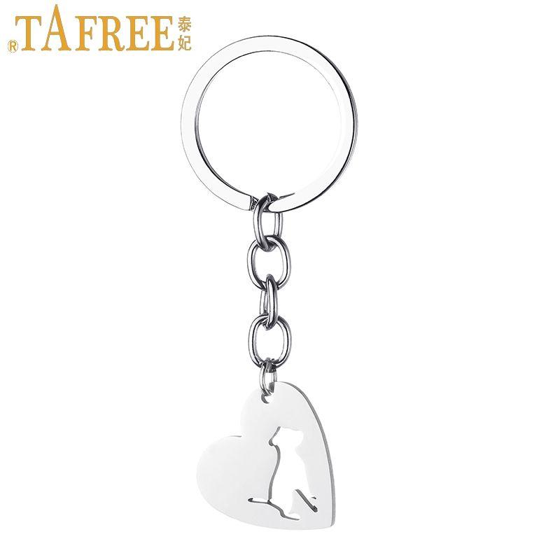 2019 TAFREE Men Women Dog Lover Keychain Heart Shaped Pendant Bulldog Pet  Dog Stainless Steel Animal Key Chains Rings Jewelry SKU01 From Tafree eab2e4f6c90a