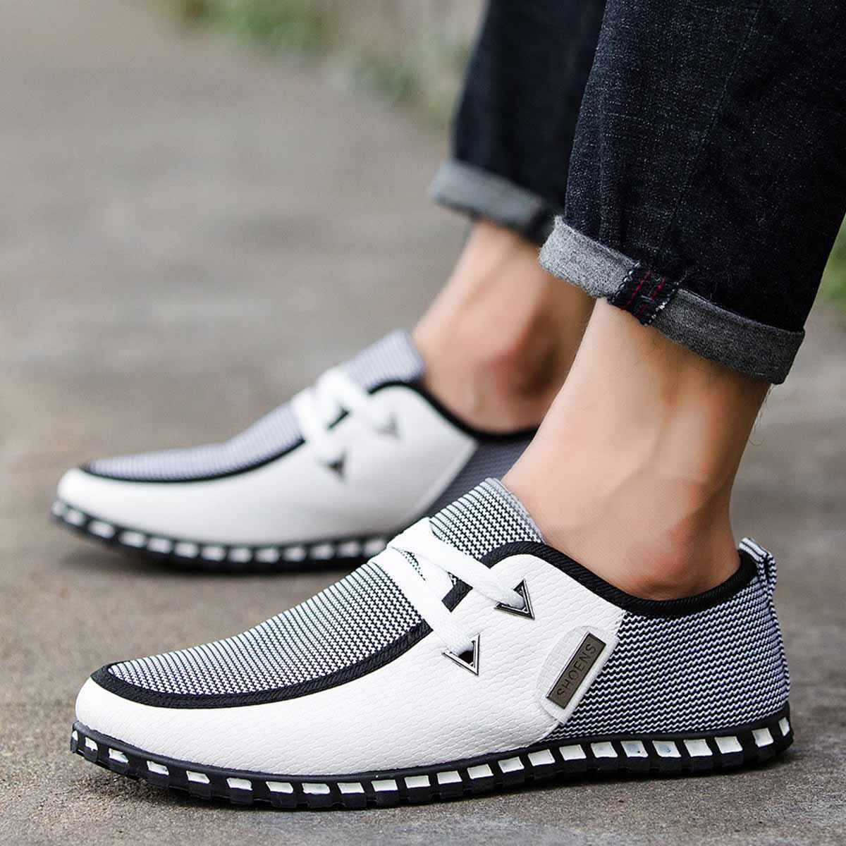 Mens Casual PU Breathable Mesh Ankle Driving Shoes Fashion Lightweight  Comfortable Slip on Outdoor Wild Tide Flat Shoes Online with  45.45 Pair on  ... cc045e075127