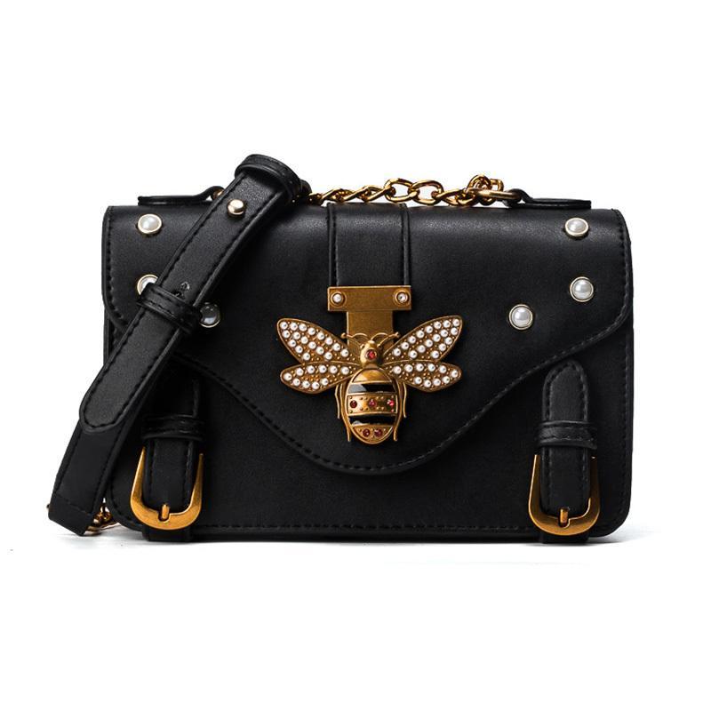 eb79a26d3082 New Women Messenger Bag Fashion Brand Designer Retro Bee Honeybee Decor  Rivet Shoulder Bag For Ladies Vintage Cute Crossbody Bag