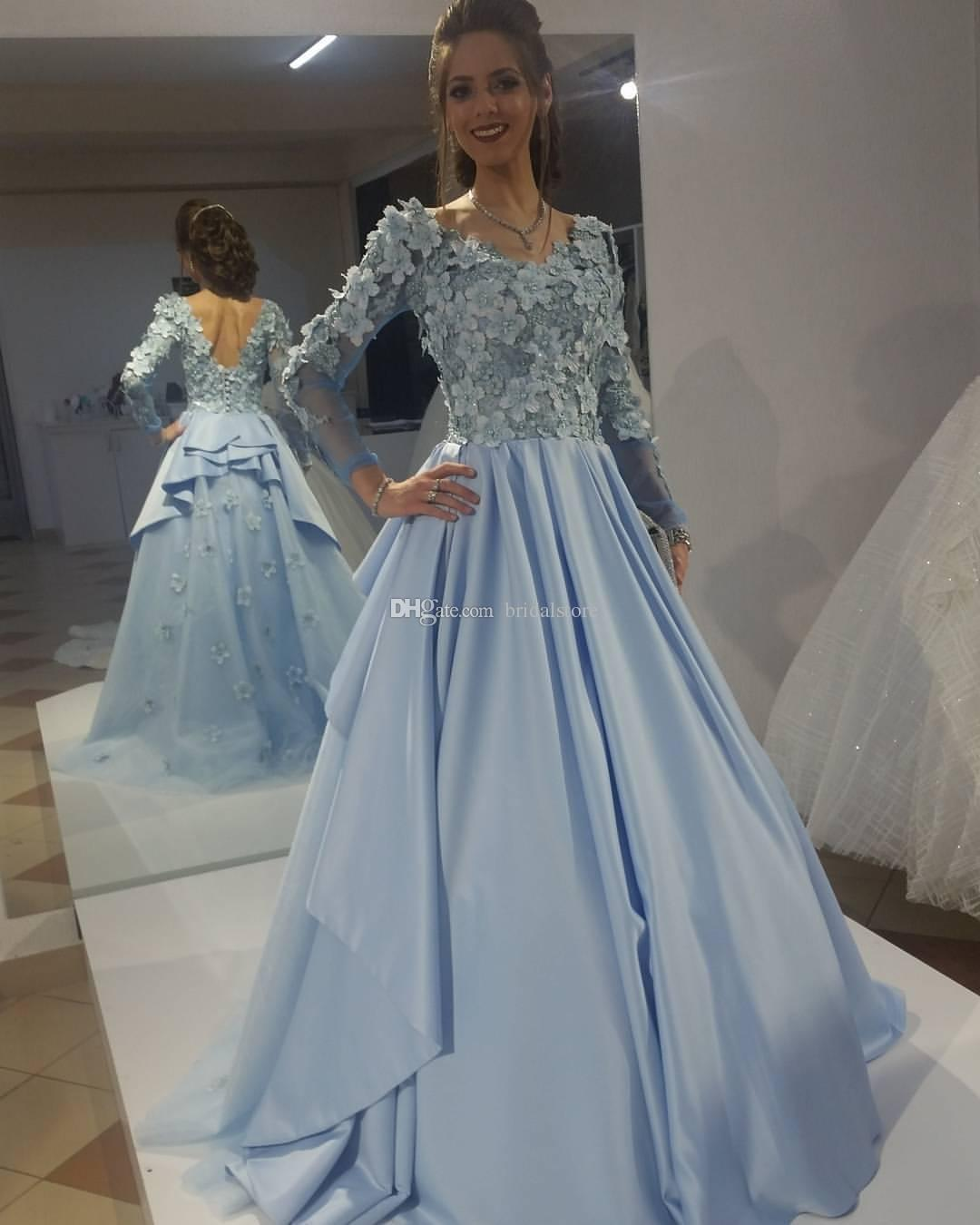 205f31fa40 Stunning Baby Blue Elie Saab Evening Gowns Vintage Puffy Top 3D Floral  Appliques Long Sleeves Modest Prom Dress Low Back Arabic Dresses 2019 Ivory  Evening ...