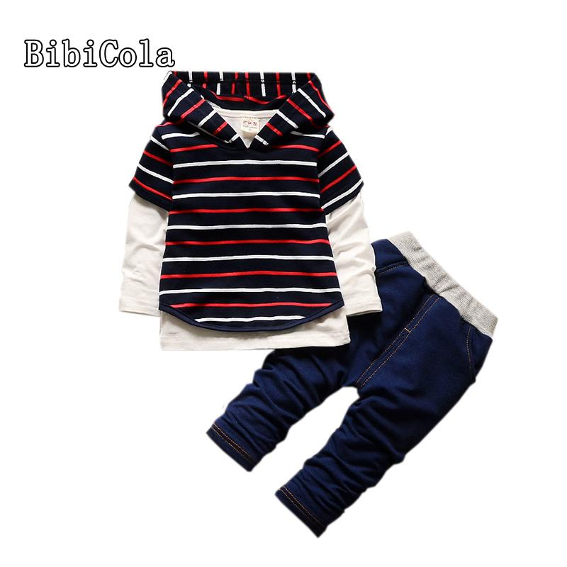 ccdb237d Good Quality Spring Fashion Baby Boy Clothes Set Kids Clothes Long Sleeve Striped  Hoodies Tops Coat Long Pants Children Sportswear Online with $48.47/Piece  ...