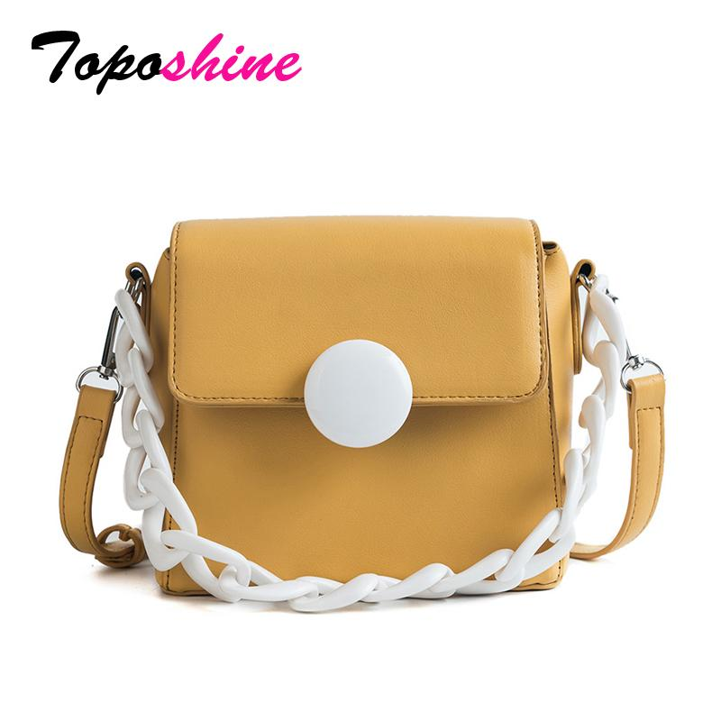 cf840160a998 2019 Fashion Toposhine 2018 New White Chains Portable Women Handbag Fashion  Small Solid PU Leather Teen Girl Shoulder Bag Simple Female Bags