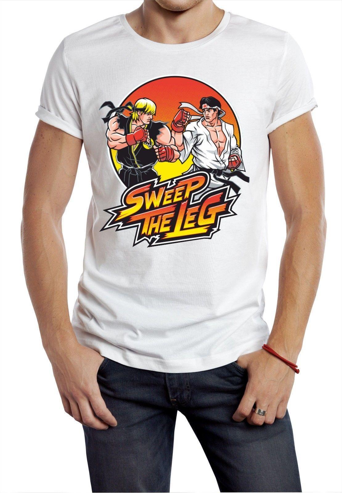 b59a6108 Sweep The Leg T Shirt Karate Kid Cobra Ken Ryu Street Fighter Game ...