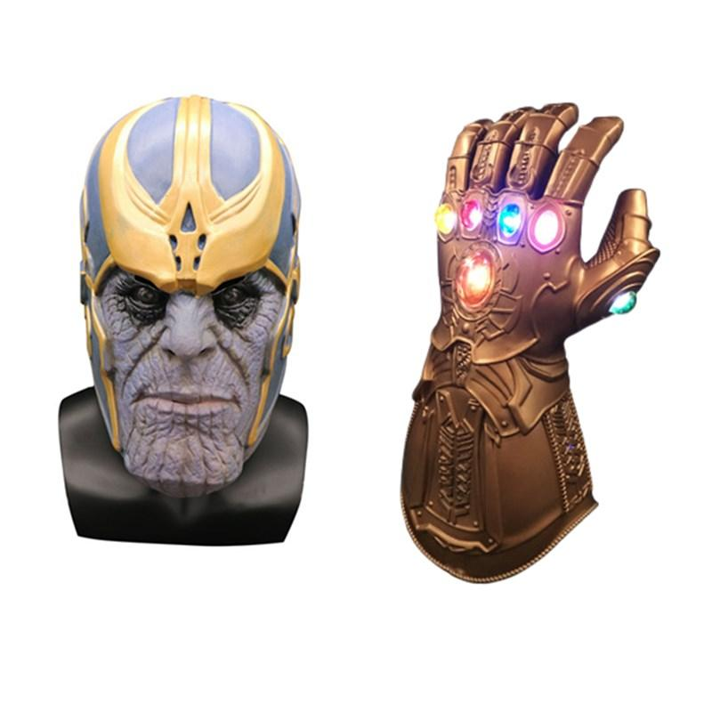 Novelty & Special Use Endgame Accessories Costume Props Halloween Thanos Mask Cosplay Props Latex Led Glove Full Face Helmet Women Men Avengers4