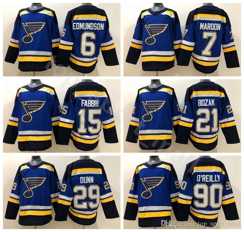 buy popular 8fca7 cbf27 St. Louis Blues Ice Hockey 15 Robby Fabbri Jersey 6 Joel Edmundson 7  Patrick Maroon 21 Tyler Bozak 29 Vince Dunn Ryan Oreilly
