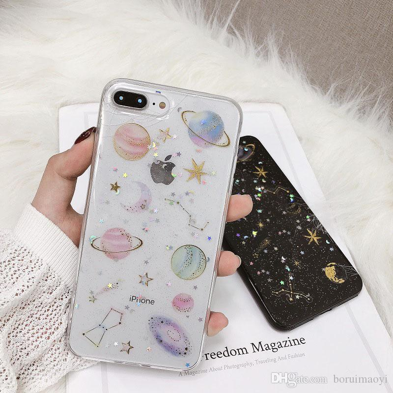 huge discount dfd8b 4d479 Luxury Shockproof Glitter Bling Space Star Planet Soft phone Case Cover For  iPhone XR XS Max 6 7 8 plus Samsung S10 S10e