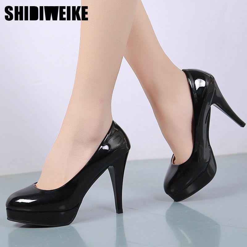 e922e0480f Designer Dress Shoes Women Pumps Fashion Classic Patent Leather High Heels  Nude Sharp Head Paltform Wedding Women Dress Plus Size 34-42