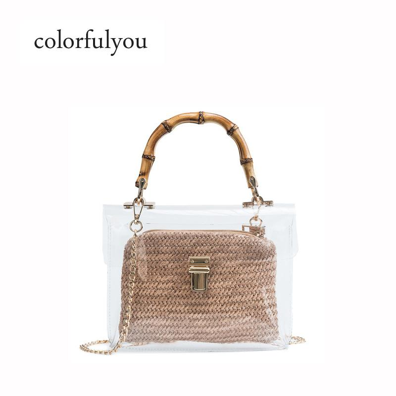 d171d8967d8b 2019 new Clear Transparent handbag for women Bamboo bag ladies chain  Shoulder Crossbody Bags with small bag PVC Jelly Bags Purse