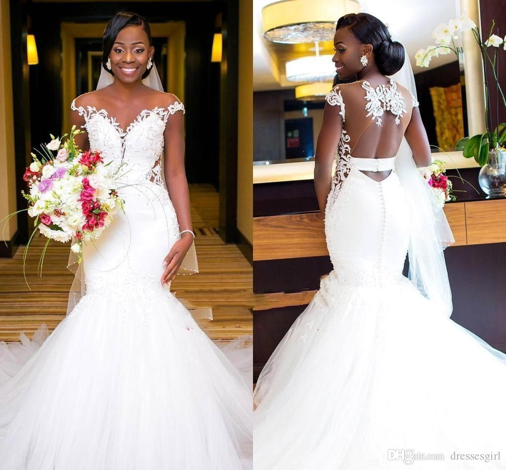 Wedding White Dresses: South African Nigeria Mermaid White Wedding Dresses 2019
