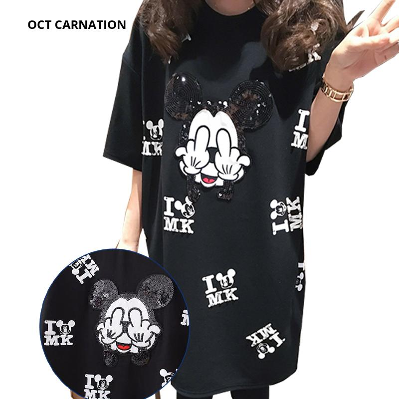 Beading Cartoon Pattern Black Short-sleeve Straight Plus Size 5XL 2018 Summer Maternity T-shirt Dress Pregnancy Dress