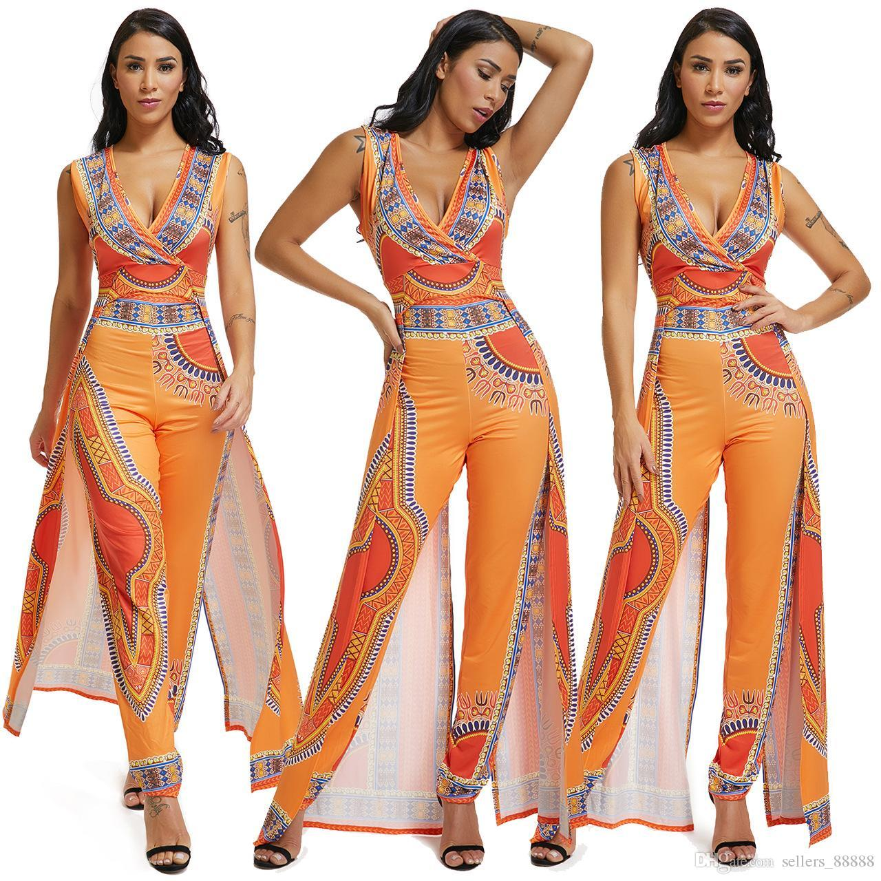 363834255cc 2019 Africa Ethnic Print Orange Women Jumpsuit Sexy Wrap V Neck Sleeveless  Indie Folk Romper Fashion Culotte Overalls New Style From Sellers 88888