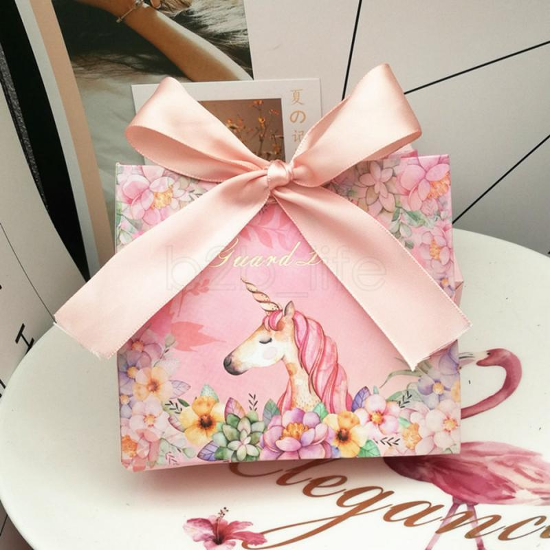 Unicorn Gift Box Party Favors Bomboniera Birthday Marble Bowknot Candy Boxes Wedding Gift Package With Ribbons Aaa1597