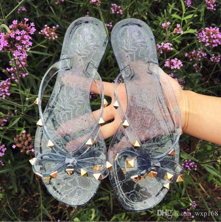 886018c4fad5 Women Rivets Bow Knot Flat Slippers Sandals Girls Flip Flops Studded Summer  Shoes Cool Beach Slides Jelly Shoes 35 41 Cowgirl Boots Over The Knee Boots  From ...