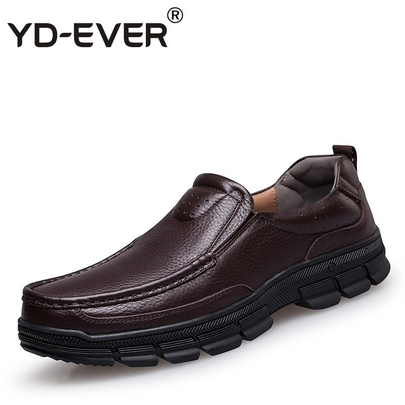 4038658bc30f YD EVER 100% Genuine Leather Men Shoes