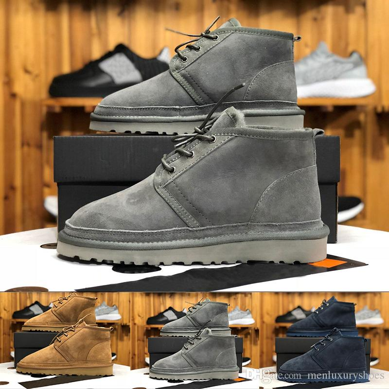 18c68da03ac (WITH BOX) Top MEN BOOTS NEUMEL SUEDE Winter boots wool shoe men s classic  boots Newm series straps casual warm mini boot SIZE 40-45