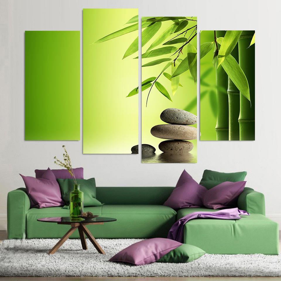 HD Imprimé Moderne Toile Peinture Murale 4 Panneau Zen Pierres Bambou Eau  Art Modulaire Affiche Cadre Photos Home Decor Salon