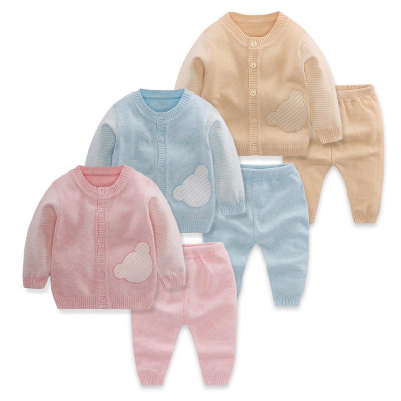 ecd8b617c Compre Ropa Para Bebés 2019 Otoño Primavera Trajes De Suéter Para Niñas  Babys Set Casual De Algodón De Punto Chaqueta De Punto Pantalones 2 Unids  Outfit A ...