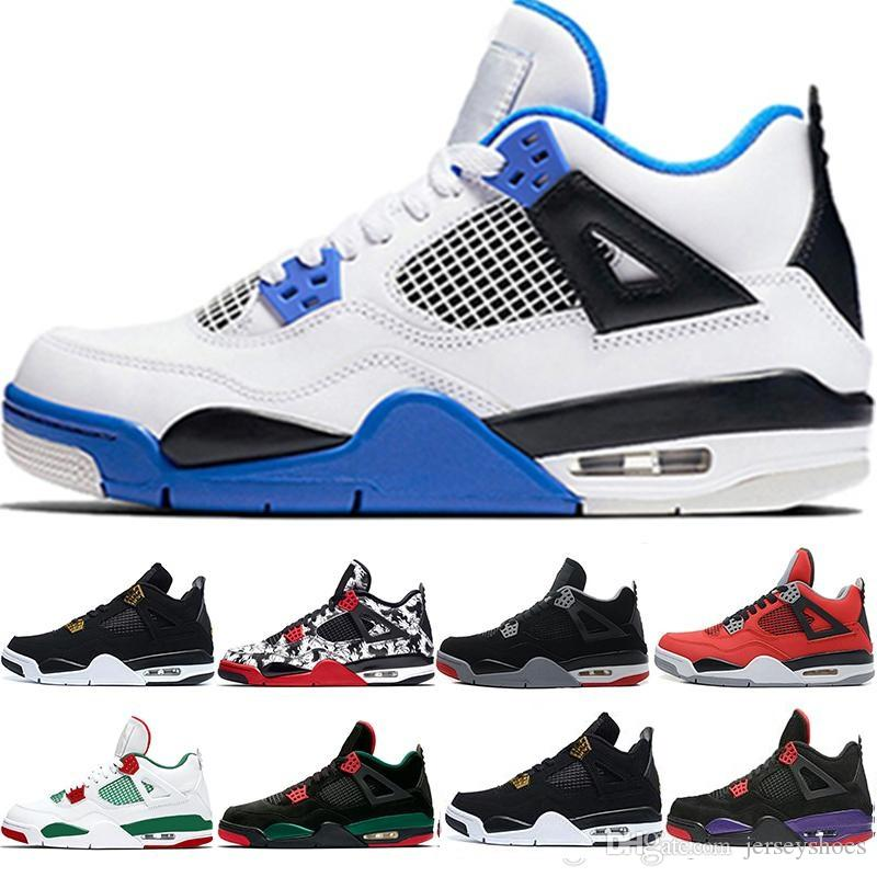 outlet store 23063 05d51 Men 4 4s Casual Shoes Retro Shoe Motorsport Blue Bred Tattoo Raptors Pure  Money NRG White Black For Mens Cheap Sports Trainers Sneakers