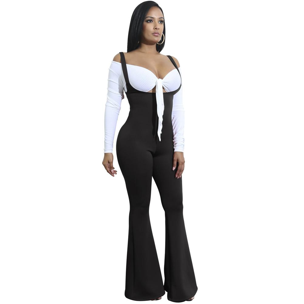 1ae4f45c5f Women Jumpsuit Solid Suspender Strap Sleeveless Overalls for Women Open  Back Wide Leg Pants Bell Bottom Sexy Combinaison Femme Online with   39.71 Piece on ...