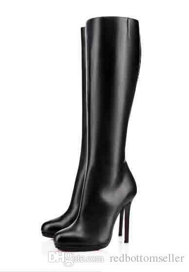 f4fca8d68a7c02 Lady Over Knee Black Boots Red Bottom Woman Boots Black Calfskin ...
