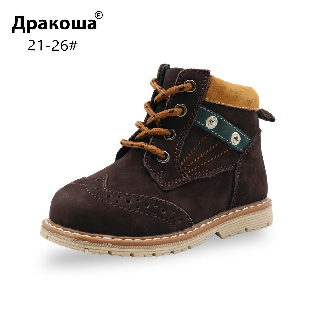 Apakowa Toddler Boy's Classic Genuine Leather Martin Boots Children Square Heel Ankle Boots for Little Boys Autumn Spring Shoes