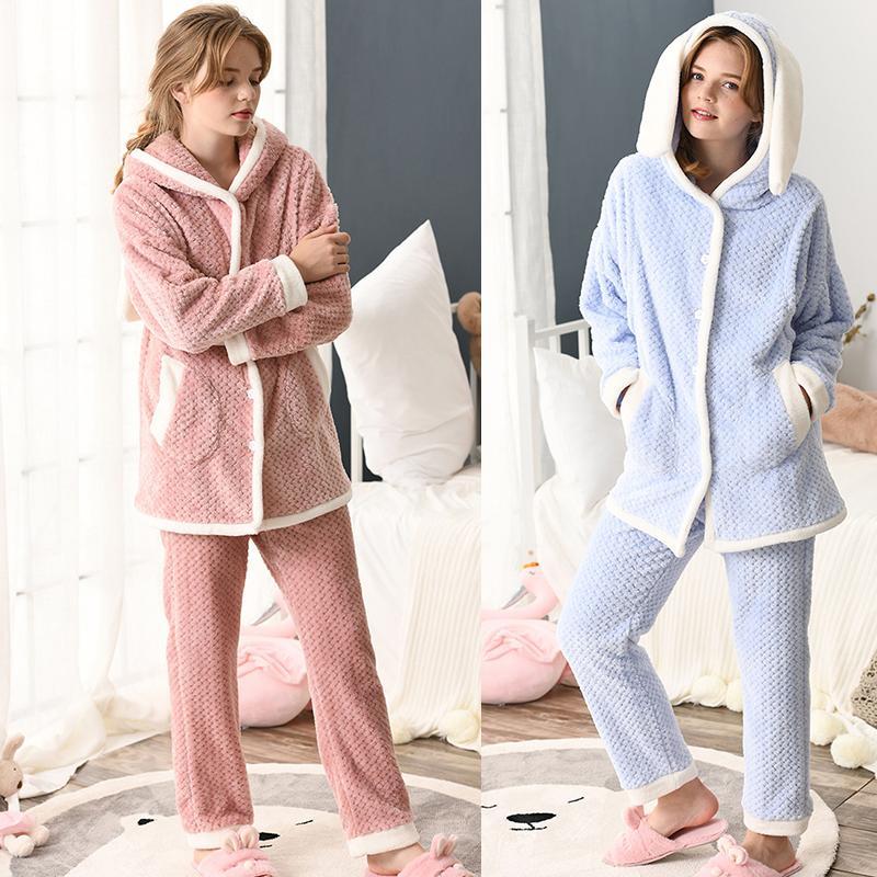 cb5fe1cc2 Compre Pijamas De Maternidad Invierno De Manga Larga Lactancia Ropa De  Dormir De Franela Ropa De Enfermería Para Mujeres Embarazadas Prendas De  Abrigo A ...