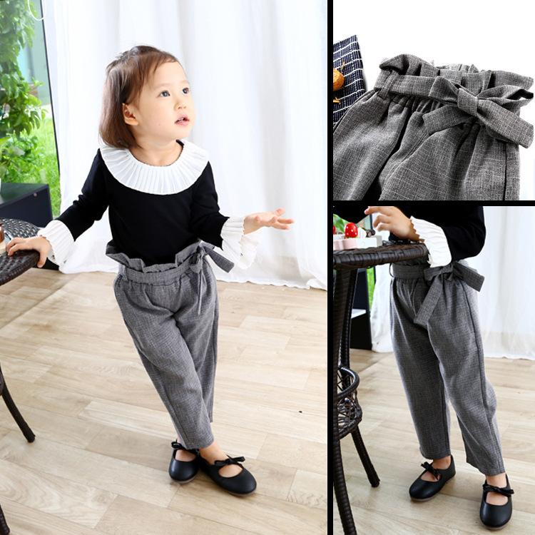 f381643de Baby Girls Plaid Pants Cotton Autumn High Waist Vintage Kids Spring ...