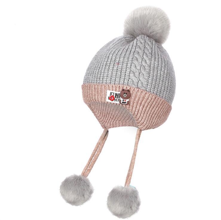 Compre Algodón Niños Invierno Sombrero Para Niñas Gorras Grueso ...
