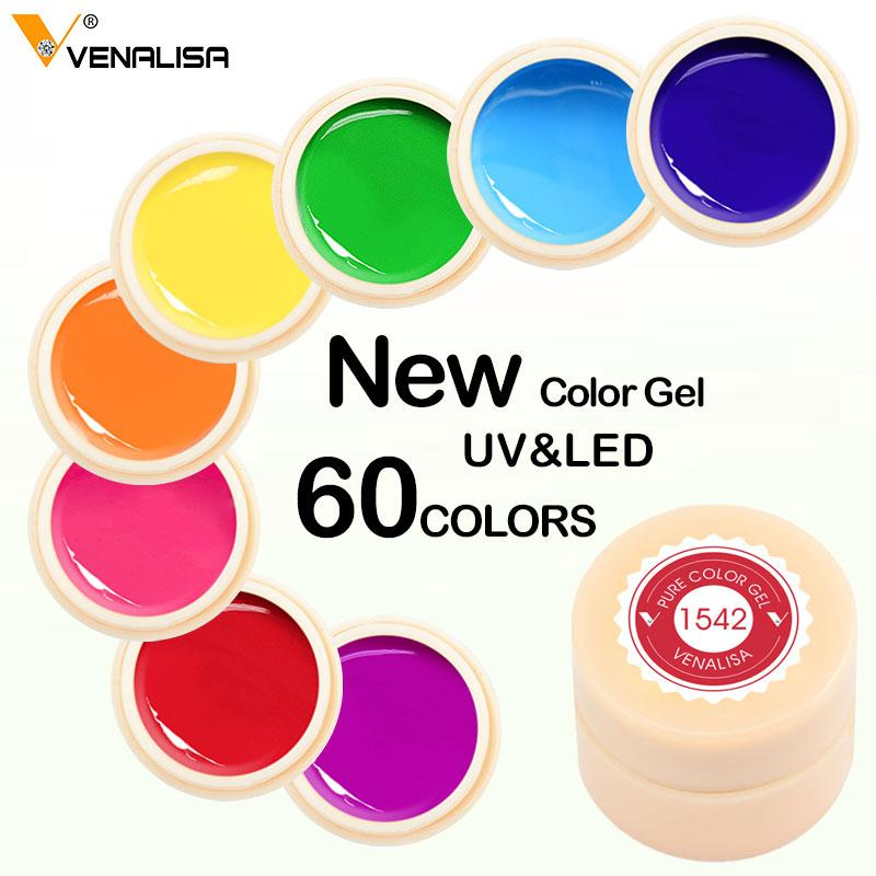 Venalisa color Paint uv Soak Off Art led lacquer 60 colors glitter rainbow Painting Gel
