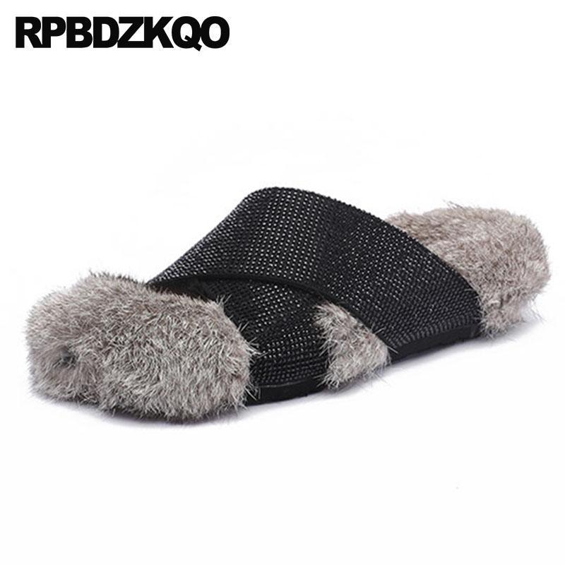 real fur slides diamond woman shoes luxury brand slip on runway 5