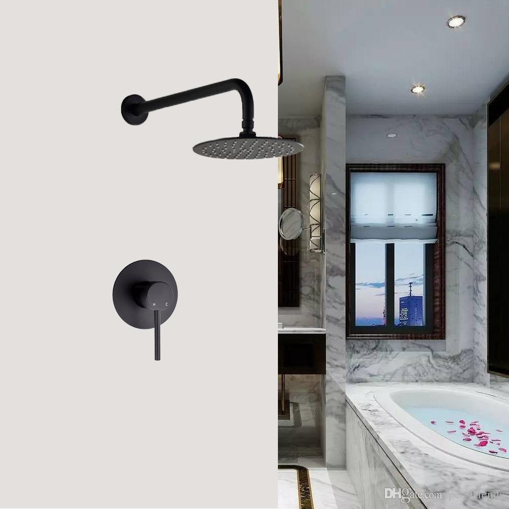 "Wall Mounted Bathroom Rainfall Shower System Brass Hot and Cold Mixer Valve 8"" 10"" 12"" Stainless Steel Shower Head"