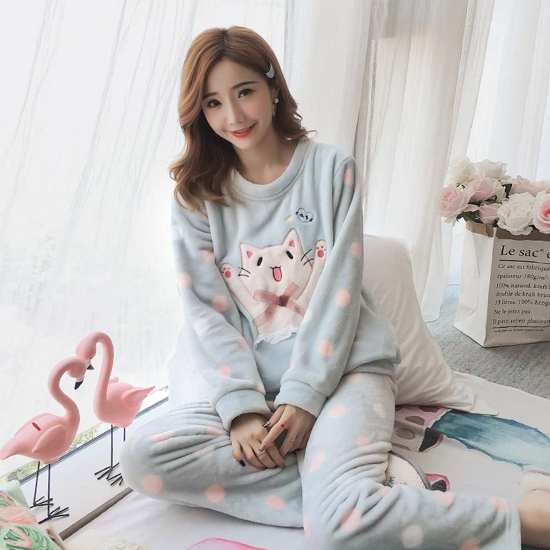 b2848ed649a Flannel Pajamas Women s Winter Coralthickening Korean Versio Sweet and  Lovely Home Clothes Winter 2018 Girls Pajamas Loungewear